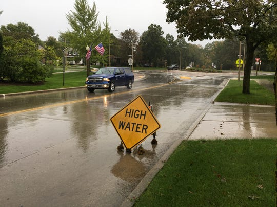 Flooding in Sheboygan County on Oct. 1.