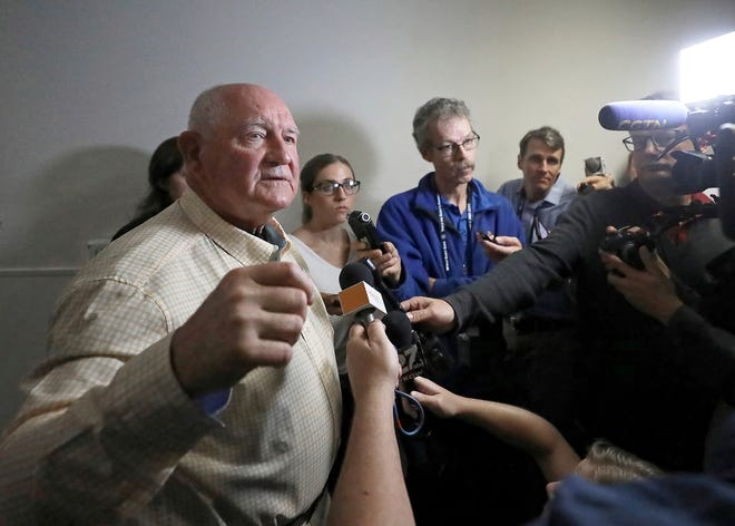 U.S. Secretary of Agriculture Sonny Perdue addresses questions from members of the media following a town hall meeting at the World Dairy Expo in Madison, Wisconsin on Oct. 1, 2019.