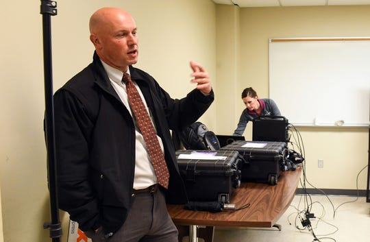 Chief Deputy Jeff Gromer speaks about the benefits of using virtual reality to give Minnehaha County Jail staff a tour of the still-incomplete renovations and additions on Tuesday, October 1, in Sioux Falls.