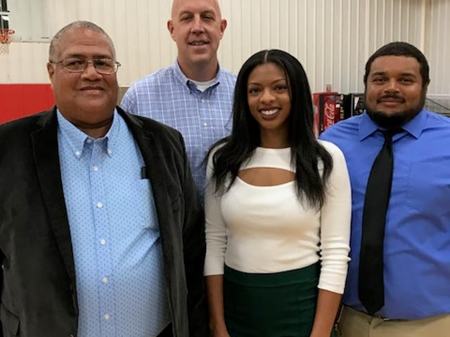 Members of the 2019 class of inductees into the Staunton/Robert E. Lee/ Booker T. Washington Hall of Fame are Chris McCauley, Todd Boyle, Destiny Simmons and Michael Bell Jr. Unable to attend the ceremonies Friday night at the Gypsy Hill Park Gymnasium was Vincent Toye.