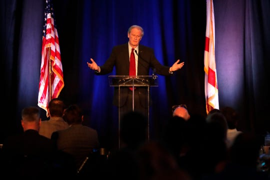 Florida State University President John Thrasher speaks at the Tallahassee Chamber of Commerce annual breakfast Tuesday, Oct. 1, 2019.