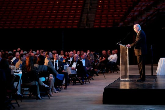 President and CEO of Tallahassee Memorial HealthCare Mark O'Bryant speaks during the Tallahassee Chamber of Commerce annual breakfast Tuesday, Oct. 1, 2019. Members of the Tallahassee Chamber of Commerce attend the annual breakfast at the Tucker Civic Center Tuesday, Oct. 1, 2019.