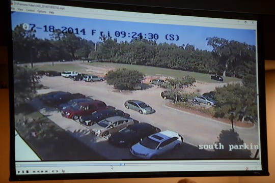 Surveillance video from Premier Health and Fitness Club on the day of Dan Markel's murder is played during the trial of Sigfredo Garcia and Katherine Magbanua, charged in the 2014 murder of Florida State law professor Dan Markel at the Leon County Courthouse Tuesday, Oct. 1, 2019.
