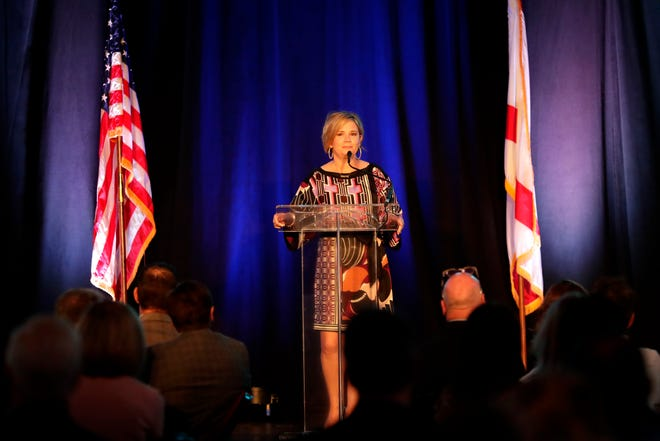 Beth Corum, incoming chair for the Tallahassee Chamber of Commerce, addresses fellow members of the Chamber at the annual breakfast Tuesday, Oct. 1, 2019.