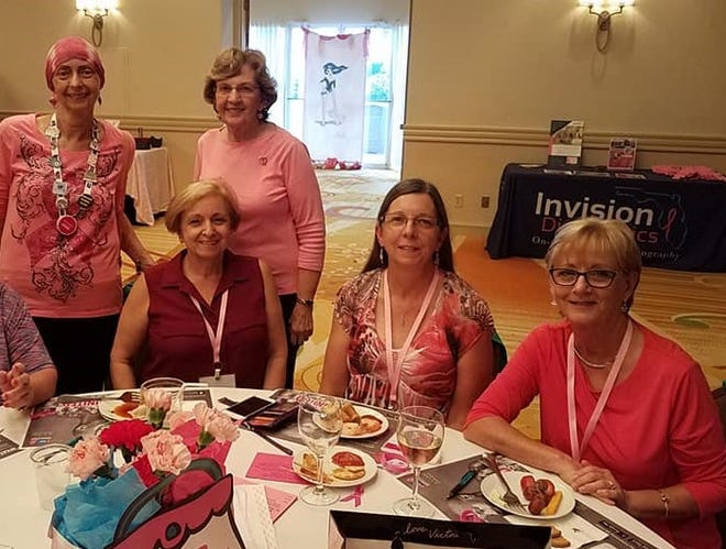Pat Owen, standing left, Vianne Nichols, seated, Cathy Uzar, Nancy Scheidegger and Eileen Krivokopich. Owen — a Palm City resident and volunteer advocate with Making Strides Against Breast Cancer of Martin County and the American Cancer Society — died Sept. 24, 2019, after a 12-year, on-again, off-again battle with the illness.