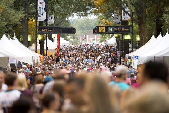 People crowd Main Street on the official opening night of the 36th annual BB&T Fall for Greenville on Friday.