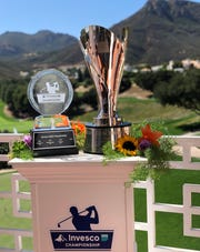 The trophy for the 2019 Invesco QQQ Championship, left, and the Charles Schwab Cup were on display at Monday's Media Day at Sherwood Country Club in Thousand Oaks. The tournament, which is the second round of the tour's playoffs, will be played Nov. 1-3.