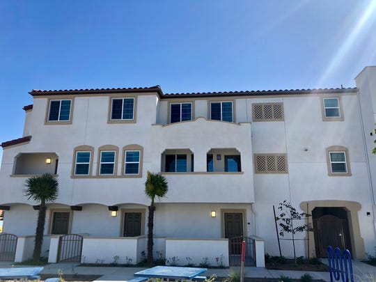 This is a row of apartments at Ormond Beach Villas, a new affordable-housing complex in Oxnard for veterans. It was opened by nonprofit Many Mansions.