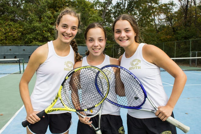 (From left to right) Clarkstown South's Jackie, Samantha, and Nicole Svantner have helped the Vikings to a 11-1 record.