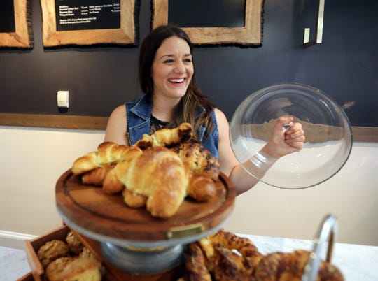 Marcella Mazzeo with a selection of cornetti and other baked goods at  SalonnièreCoffee Bar in Nyack Oct. 1, 2019.