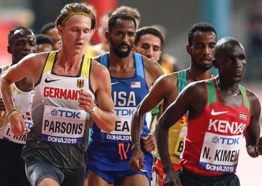 Sam Parsons runs in his 5,000-meter heat last weekend at the World Track and Field Championships in Doha, Qatar.