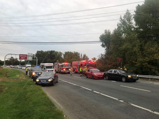 A crash on Tuesday morning slowed traffic on West Basin Road before Creekwood Road.
