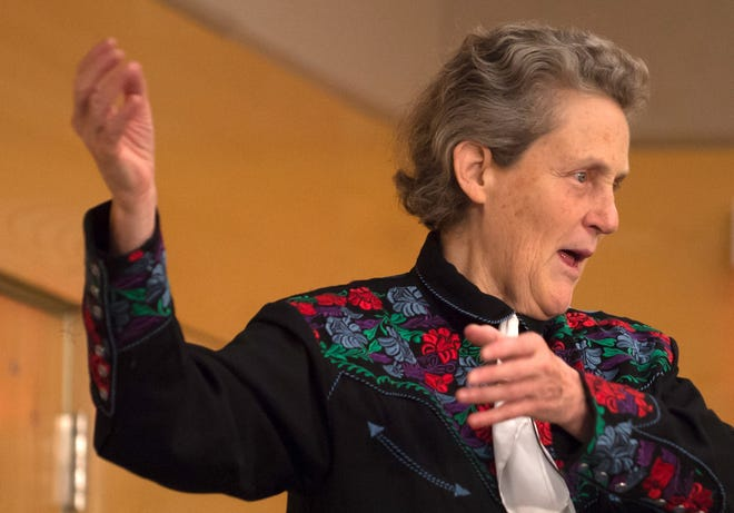 Colorado State University Animal Science professor Temple Grandin,  speaks to a sold-out crowd in the University Center.  Grandin, who is a friend and mentor to Kurt Vogel, assistant professor of animal science, is an activist for autism by sharing her own stories, and is a consultant to the livestock industry on animal behavior.