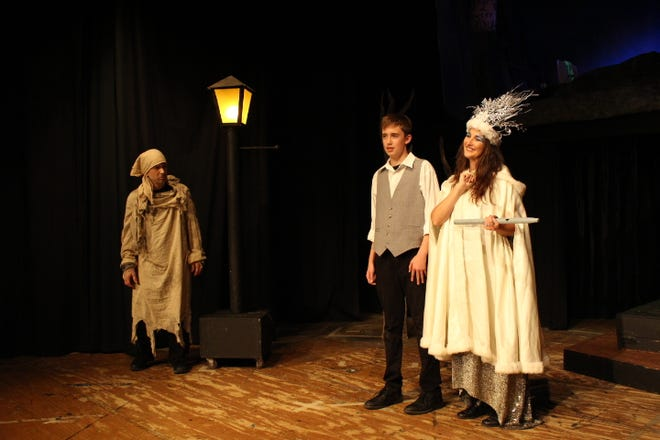 """The Witch's Toadie (Jay Shaffstall),  Edmund (Sam Rupe) and The White Witch (Amy Parsons) in a scene from """"The Lion, the Witch and the Wardrobe"""" opening at the Renner Theatre."""