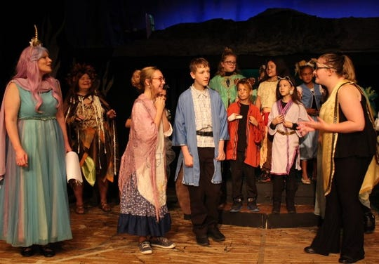 "Jeanine Busey, Jillian Miller, Trenton Hill, Autumn Wheeler, Brennan Parsons, Min Lien Phoeng, Lydia Rupe, Min Phoeng and Mollie Vanasdale rehearse a scene from ""The Lion, the Witch and the Wardrobe"" opening at the Renner Theatre."