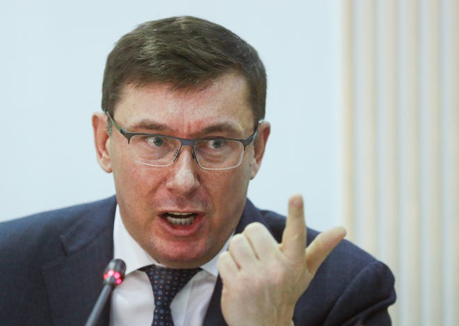 Yuriy Lutsenko, Ukraine's ex-prosecutor general, reacts during a joint briefing at the Central Election Committee office in Kiev, Ukraine, March 12, 2019.