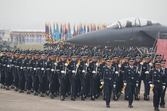 South Korean Army soldiers participate in the 71st anniversary of Armed Forces Day at the Air Force Base in Daegu, South Korea Tuesday, Oct. 1, 2019.