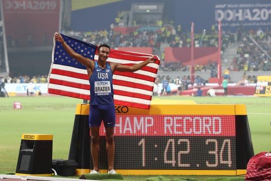 Donavan Brazier celebrates winning the gold medal in the 800 meters.