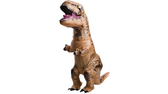 Stomp up a Jurassic Park-inspired storm in this blow-up costume.