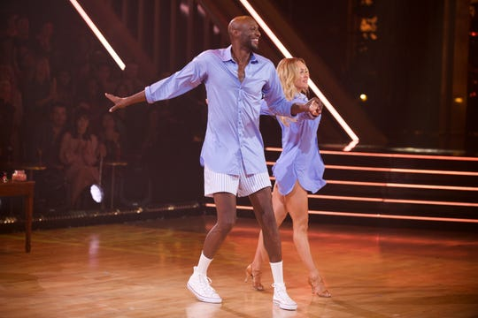 Lamar goes down to the underwear with his partner Peta Murgatroyd.