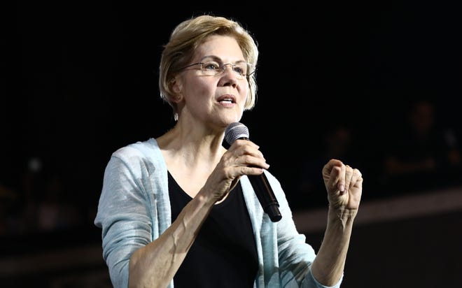 LOS ANGELES, CALIFORNIA - AUGUST 21: Democratic Presidential candidate Senator Elizabeth Warren speaks at Shrine Auditorium during a town hall on August 21, 2019 in Los Angeles, California. California will join the Super Tuesday primaries on March 3, 2020. (Photo by Mario Tama/Getty Images)