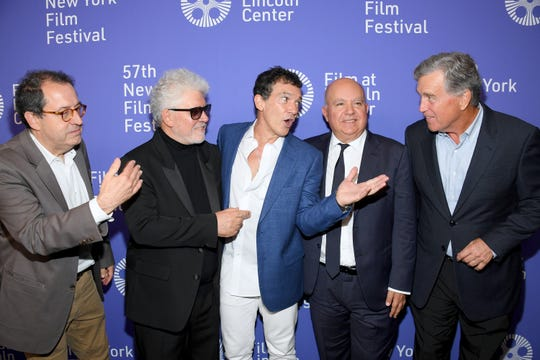 "Sony Pictures Classics co-president Michael Barker, from left, with director and screenwriter Pedro Almodovar, actor Antonio Banderas, producer Agustin Almodovar and Sony Pictures Classics co-president Tom Bernard attend the ""Pain And Glory"" premiere during the 57th New York Film Festival at Alice Tully Hall, Lincoln Center on Sept. 28, 2019 in New York City."