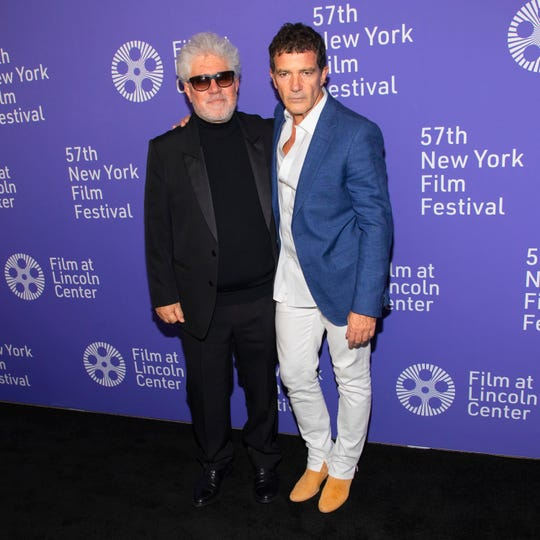 "Director/screenwriter Pedro Almodovar, left, and actor Antonio Banderas attend the premiere of ""Pain and Glory"" at Alice Tully Hall during the 57th New York Film Festival on Sept. 28, 2019 in New York."