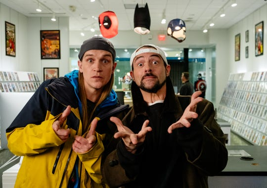 "Jason Mewes as Jay, left, and Kevin Smith as Silent Bob in the comedy ""Jay and Silent Bob Reboot,"" a Saban Films release."