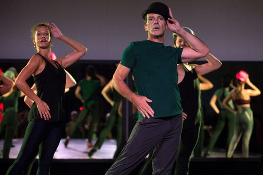 "Actor and director Antonio Banderas performs during a rehearsal of the musical ""A Chorus Line"" on Sept. 19, 2019 in Malaga, Spain."