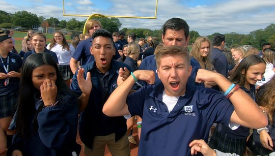 The Mater Dei community gets fired up during the Tuesday, October 1, 2019, taping of the Red Zone Road Show.  They face Wall Saturday in the Red Zone Game of the Week.