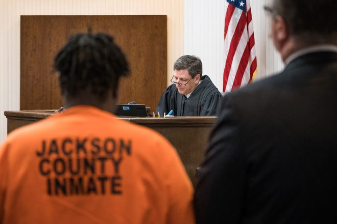 Superior Court Judge Brad Letts presides over the trial of Aja Makalo. She faces at least 20 years in prison after pleading guilty to second-degree murder. Attorney Joe Bowman is on Makalo's right.