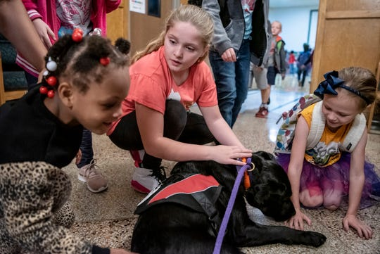 Fourth grader Isabelle Sego (middle) engages with a therapy dog named Ohana on Wednesday, Oct. 2, 2019 at Prairieview Elementary School in Battle Creek, Mich. Ohana is trained to soothe students and faculty so she can help create a safe space for learning.