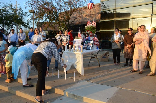 Sikhs from Battle Creek and Kalamazoo gathered Tuesday at the Calhoun County Courthouse to honor a Sikh deputy killed last week in Texas.