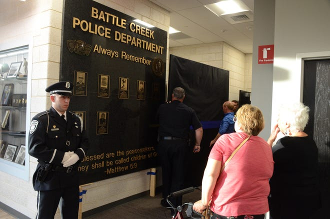 An 8-foot by 8-foot memorial plaque was unveiled Tuesday the Battle Creek Police  Department.