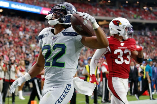 Seahawks running back C.J. Prosise scores against the Arizona Cardinals to seal Seattle's win in Glendale Sept. 29.