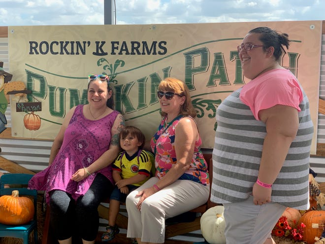 Families enjoy the pumpkin patch at Rockin' K Farms in Robstown on Saturday, Sept. 28, 2019.