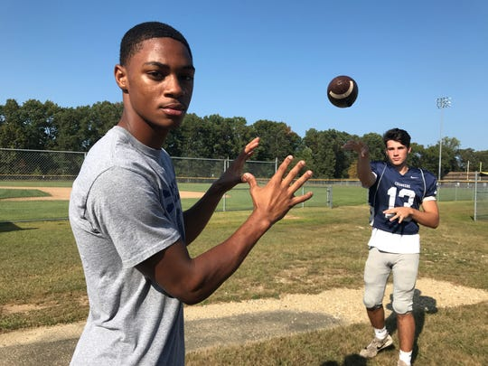 Timber Creek's Donovan Leary (right) has thrown six touchdown passes to Tarheeb Still already this season.