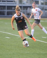 Waverly girls soccer's Zoiee Smith dribbles the ball during a 5-0 win over Minford on Tuesday, Oct. 1, 2019 at Waverly High School in Waverly, Ohio.
