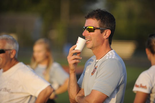 Waverly head coach Chris Murphy watches team during a 5-0 win over Minford on Tuesday, Oct. 1, 2019 at Waverly High School in Waverly, Ohio.