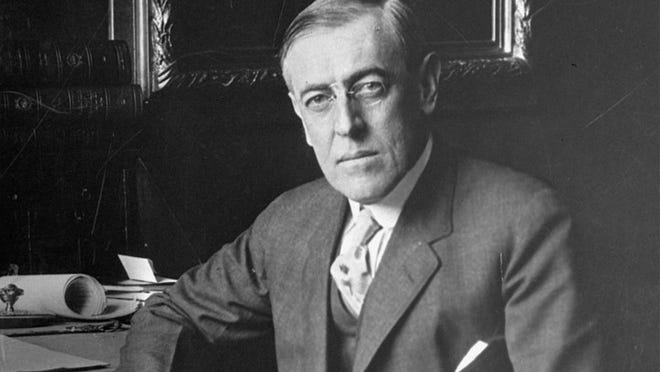 Woodrow Wilson, the 28th U.S. President, poses for a portrait in this undated photo.