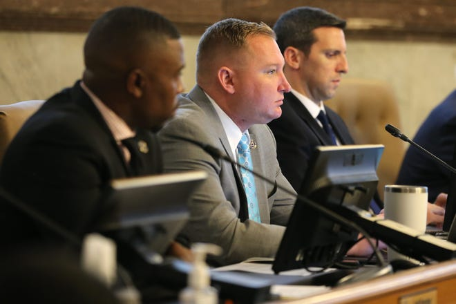 Cincinnati City Council member Chris Seelbach listens to public comment about the proposed relocation of Hilltop Concrete facility to the west side of the city to make way for a music venue at The Banks, Wednesday, Oct. 2, 2019, at Cincinnati City Council.