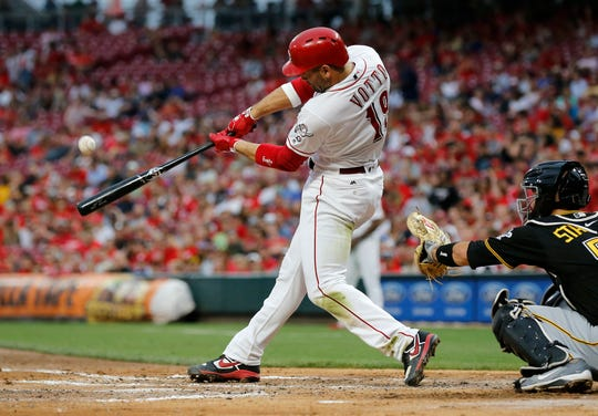 Cincinnati Reds first baseman Joey Votto hits a solo home run in the third inning against the Pittsburgh Pirates at Great American Ball Park on July 30, 2019.