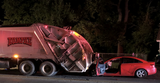 A Rumpke truck driver was struck and seriously hurt on Anderson Ferry Road in Delhi Township early Wednesday, police say.