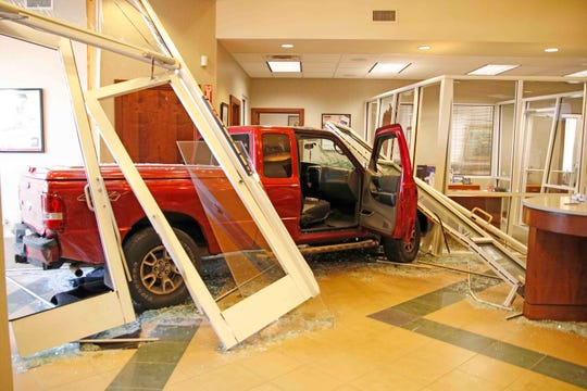 A 66-year-old man crashed his new truck into F&M Bank on Madison Street. Oct. 2, 2019