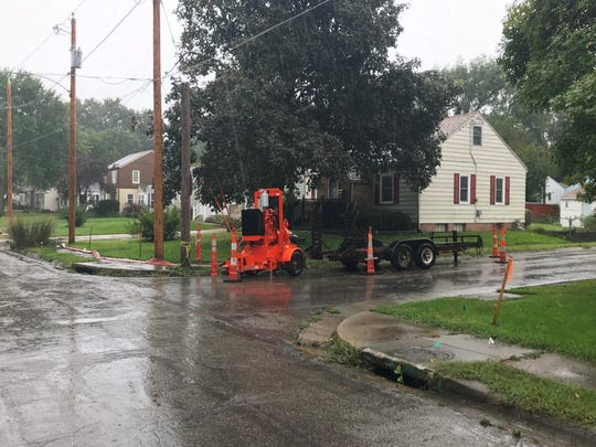 Des Moines deployed a portable stormwater pump in Beaverdale to prevent street flooding on Tuesday.