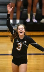 Indianola sophomore Lauren Blake reacts to a point. Indianola beat Grinnell in three games in an Oct. 1 home meet.