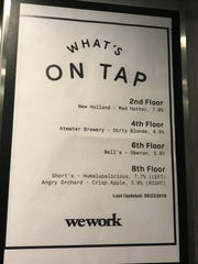 Poster at a WeWork location in downtown Detroit announces what type of beer is available on which floor, part of the extras included in WeWork tenant leases.