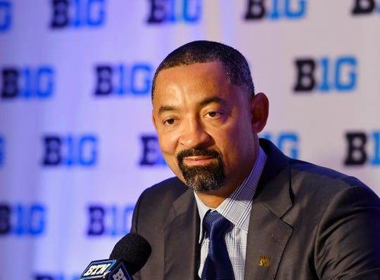 Michigan coach Juwan Howard answers a question during the Big Ten conference media day Wednesday, Oct. 2, 2019, in Rosemont, Ill.