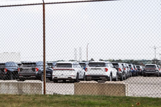 Ford Explorers and Lincoln Aviators parked at the Ford's Flat Rock Assembly Plant in Flat Rock, Wednesday, September 11, 2019. The newly designed vehicles were in Michigan for fixes before heading to showrooms.
