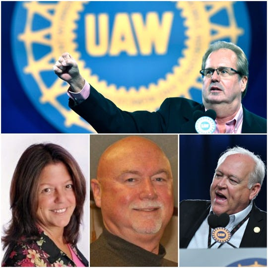 "Sources helped decipher pseudonyms used by the government to identify four current and former UAW officials implicated in an alleged embezzlement scheme. They are (clockwise): Gary Jones, aka ""UAW Official A""; Dennis Williams, aka ""UAW Official B""; Danny Trull, aka ""UAW Official C"", and Amy Loasching, aka ""UAW Official D."""
